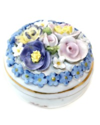 Miniature Porcelain Elfinware Flower Round Covered Box #4