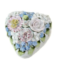 1920's Miniature Porcelain Elfinware Flower Covered Heart Box