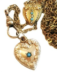 Antique Victorian Heart Turquoise Gold Slide Necklace