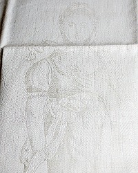 Antique French Estate Luxury Exclusif Linen Damask Towel Figural