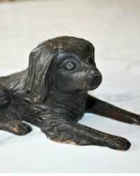 Antique Folk Art Hand Carved Wooden Dog