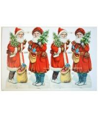 Antique Father Christmas Die Cuts Scraps