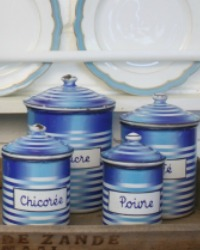 Antique French Art Deco Blue Enameled Canister Set