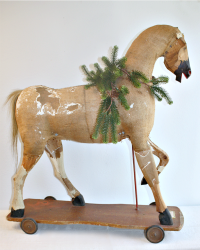 19th Century Antique Toy Horse Burlap