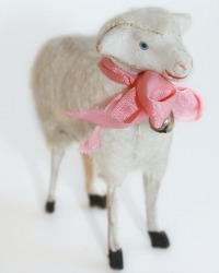 Antique Sheep with French Pink Silk Bow and Bell