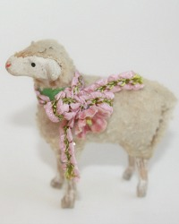 Antique Sheep with French Pink Silk Ribbon and Flower