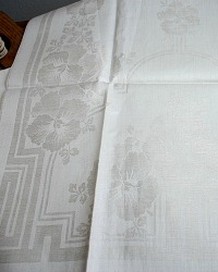 Antique French Cream Floral Damask Tea Towel Pansies