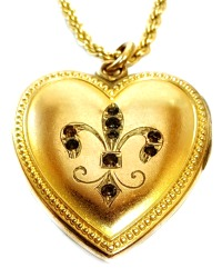 Antique 19th Century Heart Fleur de Lis Locket & Necklace