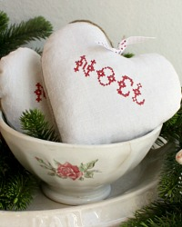 30 % Off French Country Hand Made Antique Linen NOEL Heart Lavender Sachet