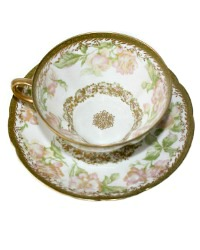 Antique French Limoges Rose 24kt Gold Encrusted Tea Cup