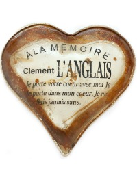 Antique French Memorial Burial Plaque Heart