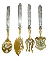 Antique Sterling Silver & Gilt Vermeil Four Piece Lady's Dessert Set