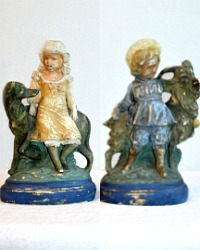 Antique French Country Chalk-ware Boy and Girl with Dog