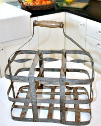 Antique French Country Zinc Wine Bottle Caddy 6 Compartment