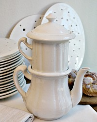 Antique White Ironstone Cafe Filtre Drip Coffee Pot