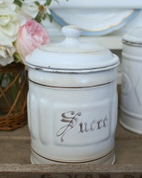 Antique French White Enamelware Sucre Canister
