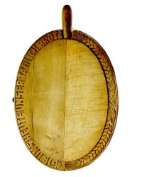Antique European Oval Bread Board with Knife Our Daily Bread