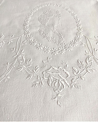 Antique Appenzell Embroidered Portrait and Roses Hand Towel