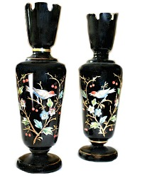 19th Century Amethyst Bristol Glass Chinoiserie Vase Pair