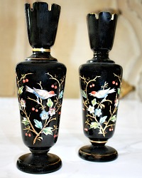 19th Century Amethyst Bristol Glass Chinoiserie Vase Pair