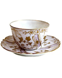 Antique French Limoges Hand Painted Gilt Encrusted Lavender Floral Teacup