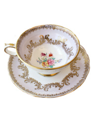 Antique Hand Painted Grosvenor Lavender and Gilt Floral Tea Cup