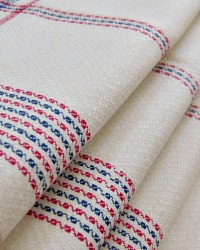 Antique Hand Woven Linen Tea Towel Blue Red Stripe