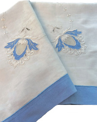 Antique Linen Blue and White Table Cloth Tea Topper