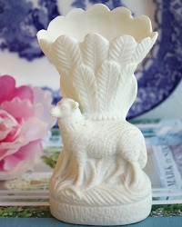 Antique 19th Century Parian Sheep Vase