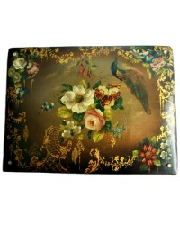Antique Papier Mache Folio Blotter with Peacock