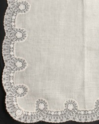 Antique Ivory Irish Linen Cream Lace Handkerchief