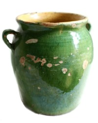 Antique French Green Glazed Confit Pot