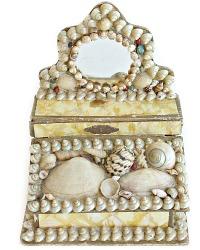 Antique French Shell Art Miniature Mirrored Bonbon Box