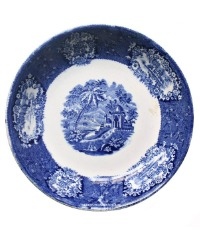 Antique Blue Transferware Grand Tour Deep Plate