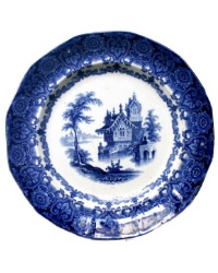 Early 19th Century Flow Blue Staffordshire Transfer Plate