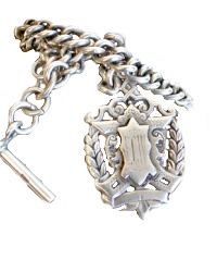 Antique Sterling Silver Award Fob Necklace with Sterling Chain
