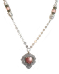 Antique Sterling Fob Necklace with Rose Gold