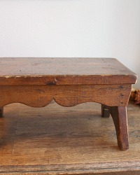 Antique Wood Foot Stool Scalloped Design