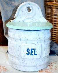 Antique Blue, White And Aqua Enamel Salt Box