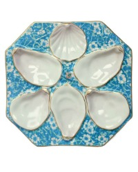 Antique Continental Eight Sided Blue Oyster Server Plate