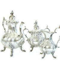 Exceptional Estate Hand Chased Silver Plated Tea Service