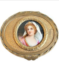 19th Century French Gilt Bronze Limoges Portrait Jewelry Box Oval