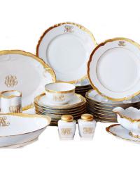 Heirloom Estate Antique Gilt & White Porcelain Dinner Service for 8