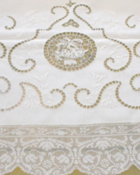 Exquisite Antique Needle Lace Italian Tablecloth Floral Baskets