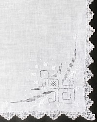 Fine Hand Embroidered Linen Whitework Handkerchief
