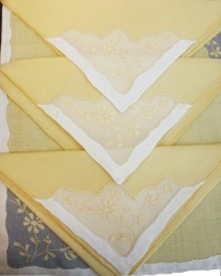 Yellow Flowers Vintage Madeira Embroidery Runner, Placemat Napkin Setting for 8