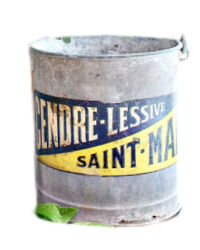 Antique French Zinc Bucket Blue & Yellow Label