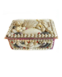French Shell Art Jewelry Box with Mirror