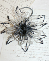 Antique French Hand Made Glass Beaded Mourning Flower Black & White