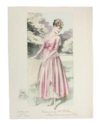 Antique French Belle Époque Fashion Print Hand Colored Pink Toilette